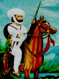 "A typical illustration of ""Baharwatias"", horse, sword, gun and dressed in all white."