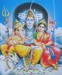Shiva, Parvati and Ganesh