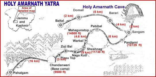 amarnath map Location in Jammu and Kashmir