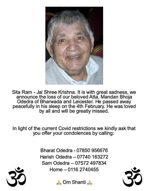 Mandanbhai Bhojabhai Odedra passed away